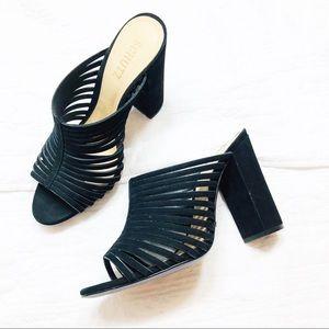 Schutz black Laura suede chunky heel sandals New 9